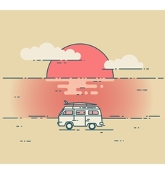 Minivan and sea sunset landscape vector