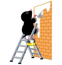 Mole plastering wall vector