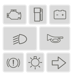 Monochrome set with car dashboard icons vector