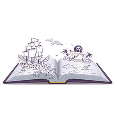 Open book adventure treasures pirates sailing vector
