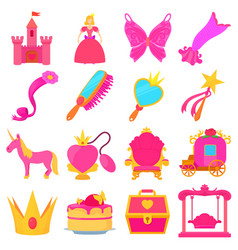 Princess accessories icons set cartoon style vector