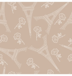 Seamless brown pattern with eiffel tower vector image vector image