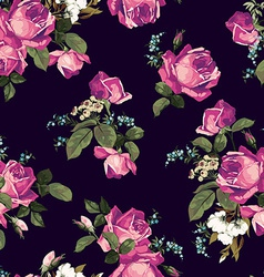 Seamless floral pattern with pink roses on dark vector