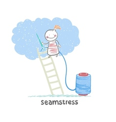 seamstress standing on a ladder and sews cloud vector image