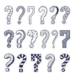 set of drawn question marks in different styles vector image