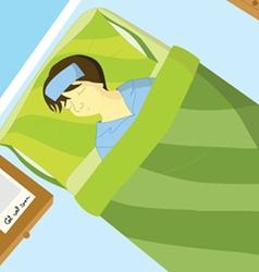 Sick boy sleep on the bed vector image