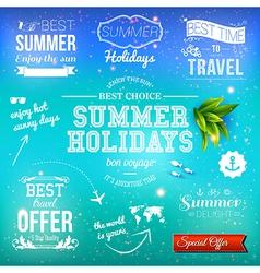 Summer design Set of typographic labels for summer vector image vector image