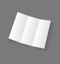 White open lying blank trifold paper brochure vector image