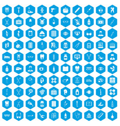 100 medical accessories icons set blue vector image vector image