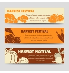 Harvest festival horizontal banners template vector