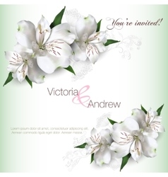Invitation card lilly vector