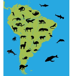 Animals on the map of south america vector