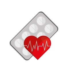 medicine tablets and heart cardiogram icon vector image