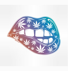 Sexy fatal biting lips with weed pattern vector