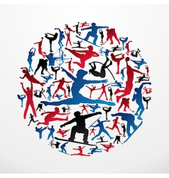 Sports silhouettes circle vector