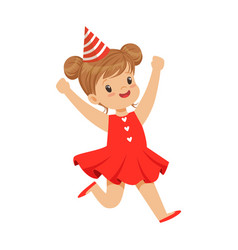 Happy smiling baby girl wearing a red dress and vector