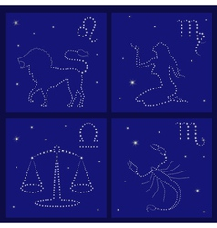 Four zodiac signs leo virgo libra scorpio vector