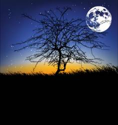 tree and the moon vector image