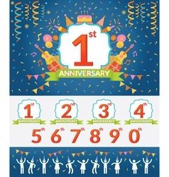 Anniversary year celebration and people party set vector
