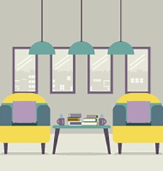 Two sofas with books on table vector
