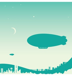 Airship over city vector