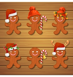 Collection of gingerbread man christmas cookies vector