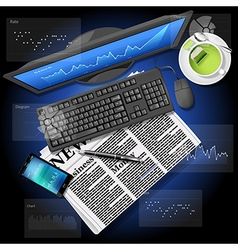 Market graph on computer and phone with newspaper vector