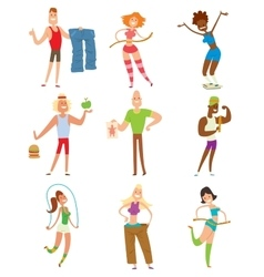 Beauty fitness people weight loss cartoon vector
