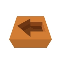 Arrow in cardboard box icon vector