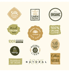 Set of hand drawn organic clothes logo label badge vector