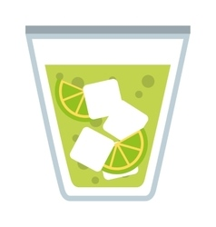 Cocktail with ice cubes isolated icon design vector