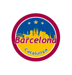 Barcelona city skyline silhouette in round vector