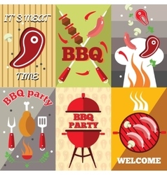 Bbq Flat Poster Set vector image