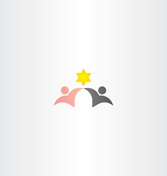 Black and white man friends star logo icon vector
