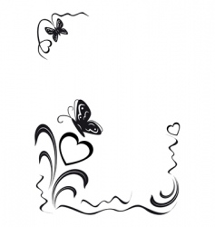 butterfly hearts and floral ornamen vector image vector image