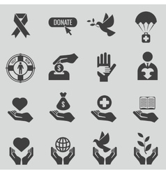 Charity and donation black icons set vector