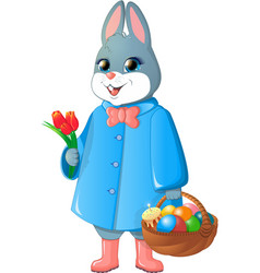 Easter bunny with basket vector