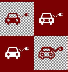 Eco electric car sign bordo and white vector