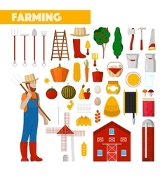 Farmer with Farming Equipment vector image