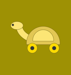 Flat icon on background kids toy turtle vector