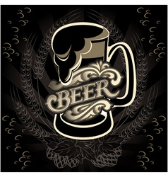 glass of beer on a black background for the menu vector image