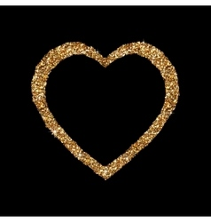 Gold heart glittering isolated on black background vector