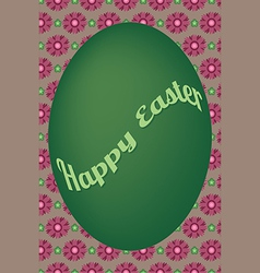 Green egg easter card on violet flower pattern vector image