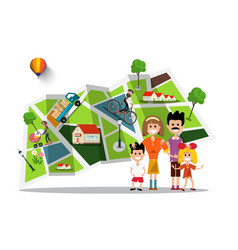 happy family with city map on background flat vector image