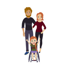 Happy family with disabled wheelchair girl vector