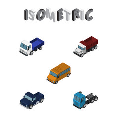 Isometric automobile set of suv freight autobus vector