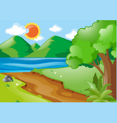 nature scene with river and road vector image