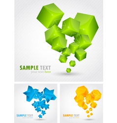 Set of backgrounds with 3d element vector image vector image