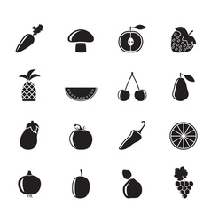 Silhouette different kinds of fruits and vegetable vector