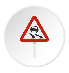 Slippery when wet road sign icon circle vector